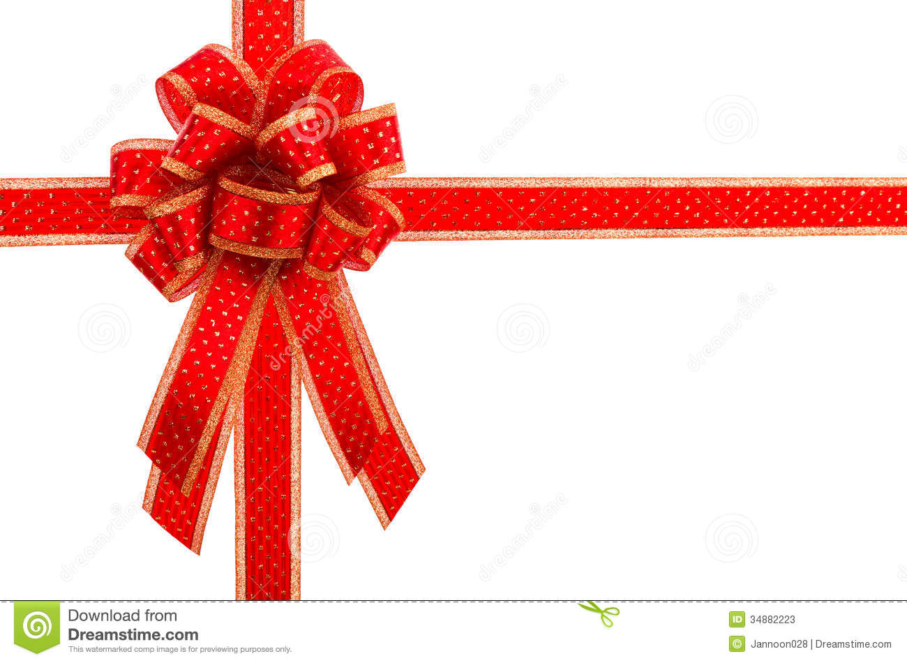 Red And Gold Gift Bow And Ribbon Stock Image Image Of