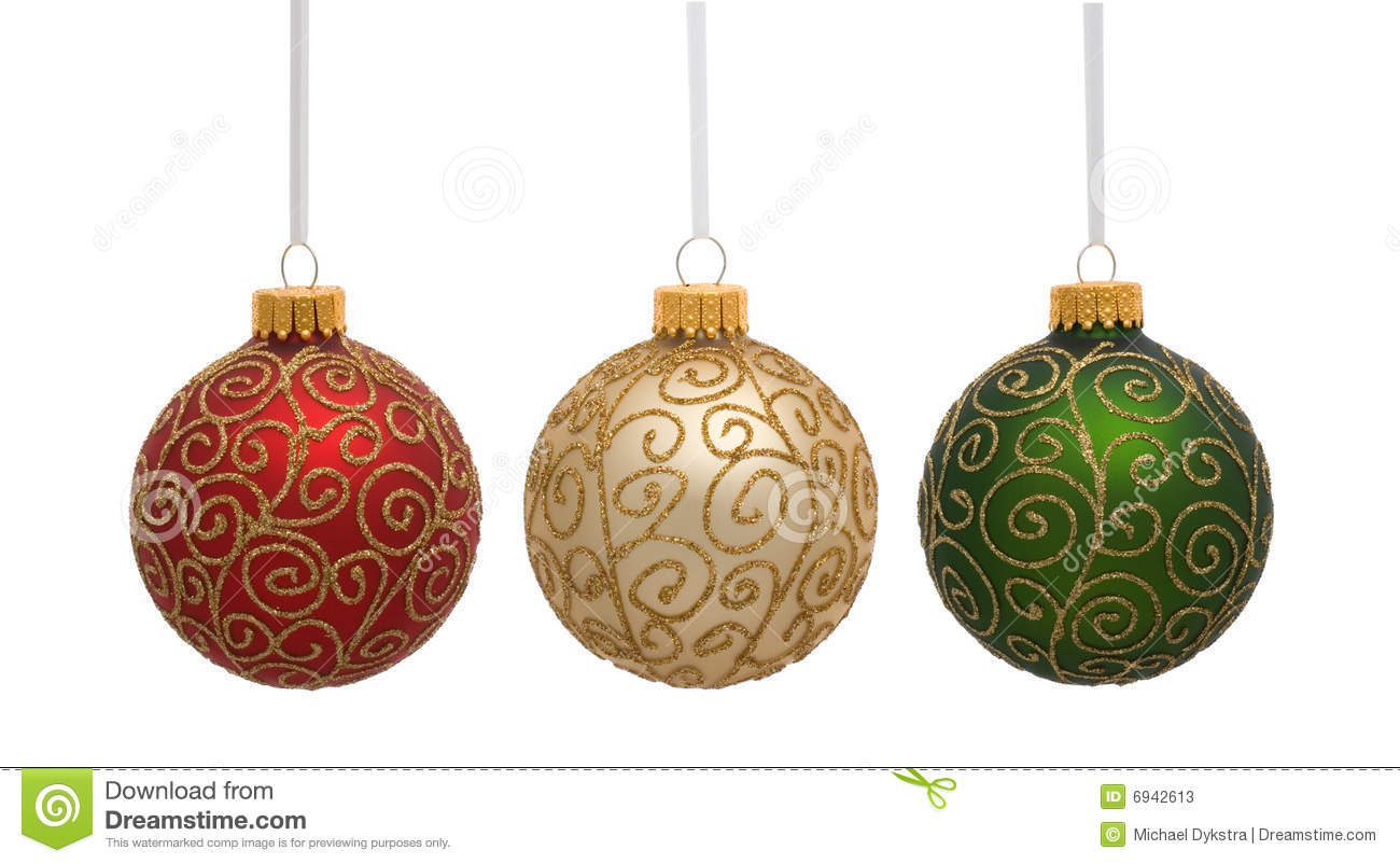 Red gold and green ornaments stock photos image 6942613 for Red and green christmas decorations