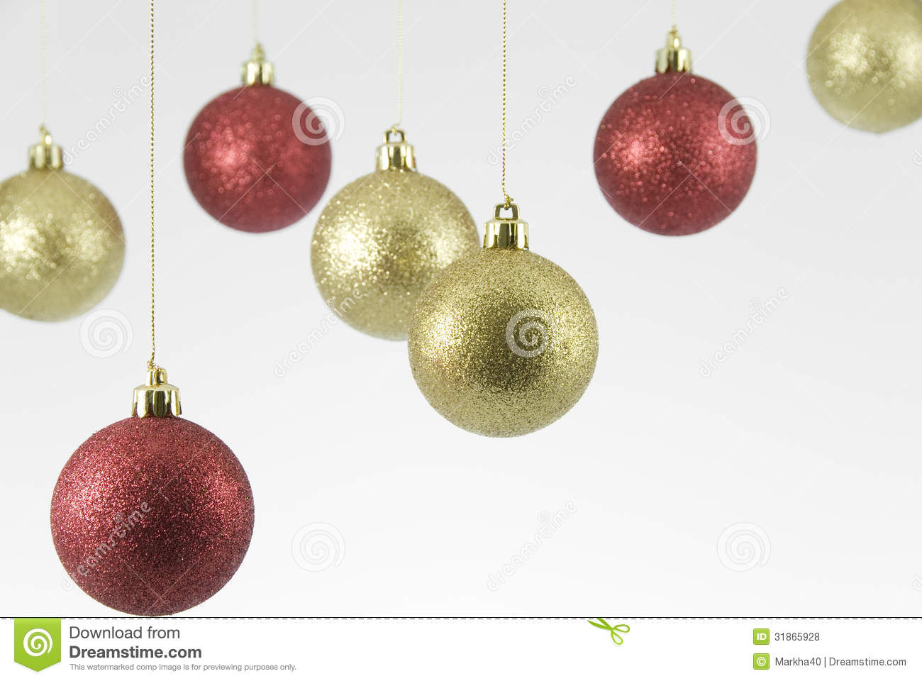 red and gold hanging christmas decorations on white background - Hanging Christmas Decorations