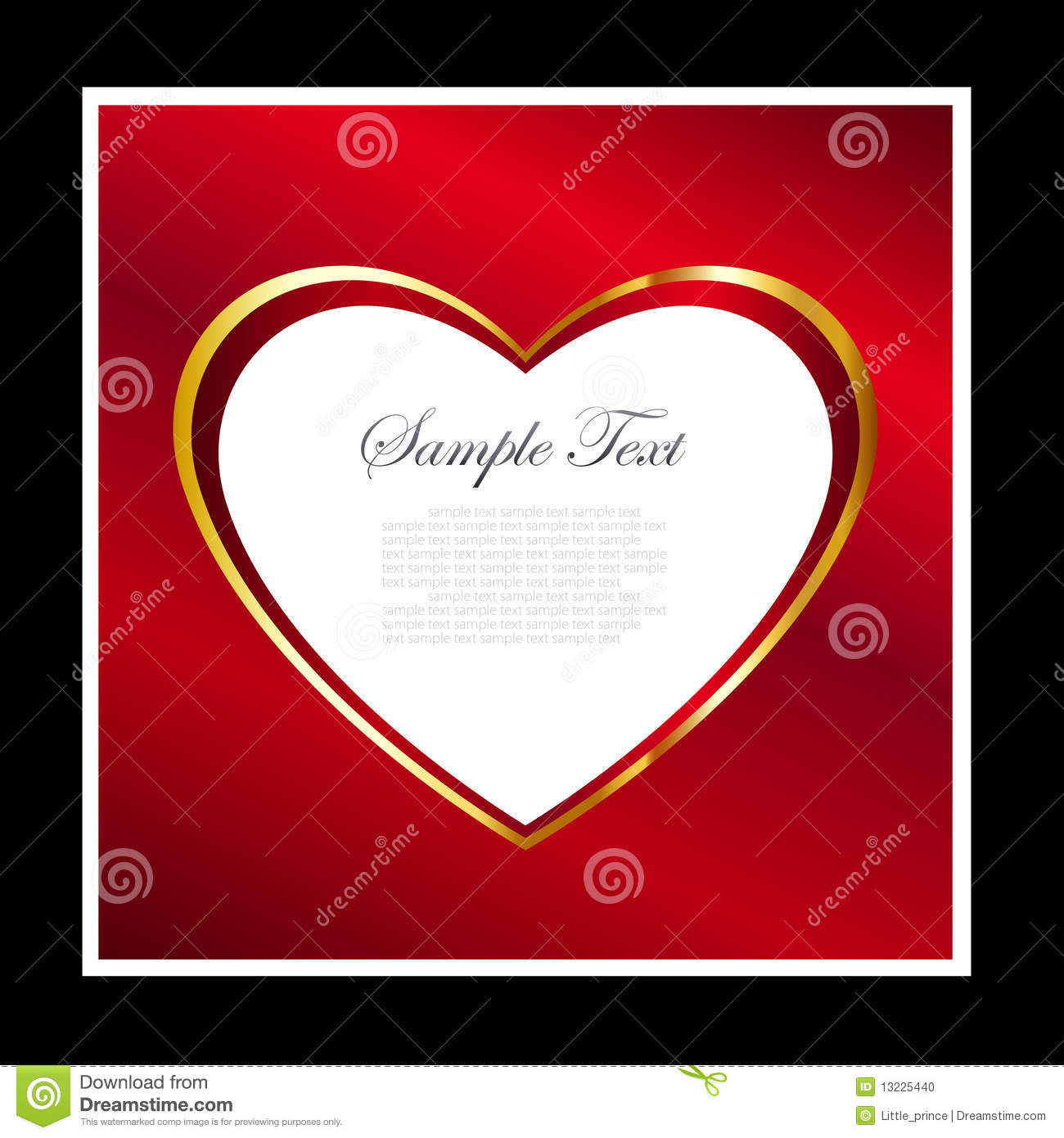 red and gold heart frame background stock photo