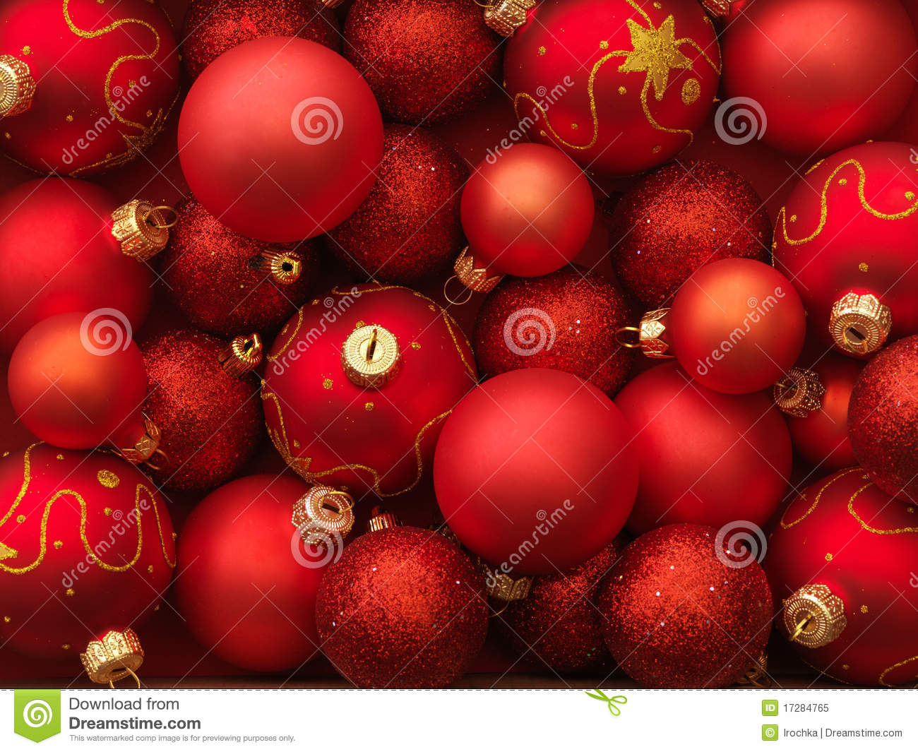 Christmas Ornaments Red And Gold : Red and gold holiday ornaments royalty free stock photo