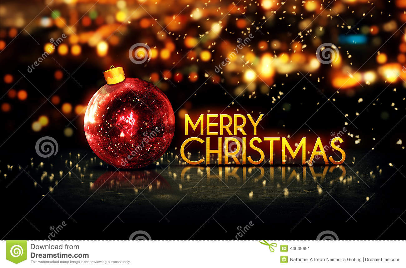 Red Gold Merry Christmas Bokeh Beautiful 3D Background Stock Image ...
