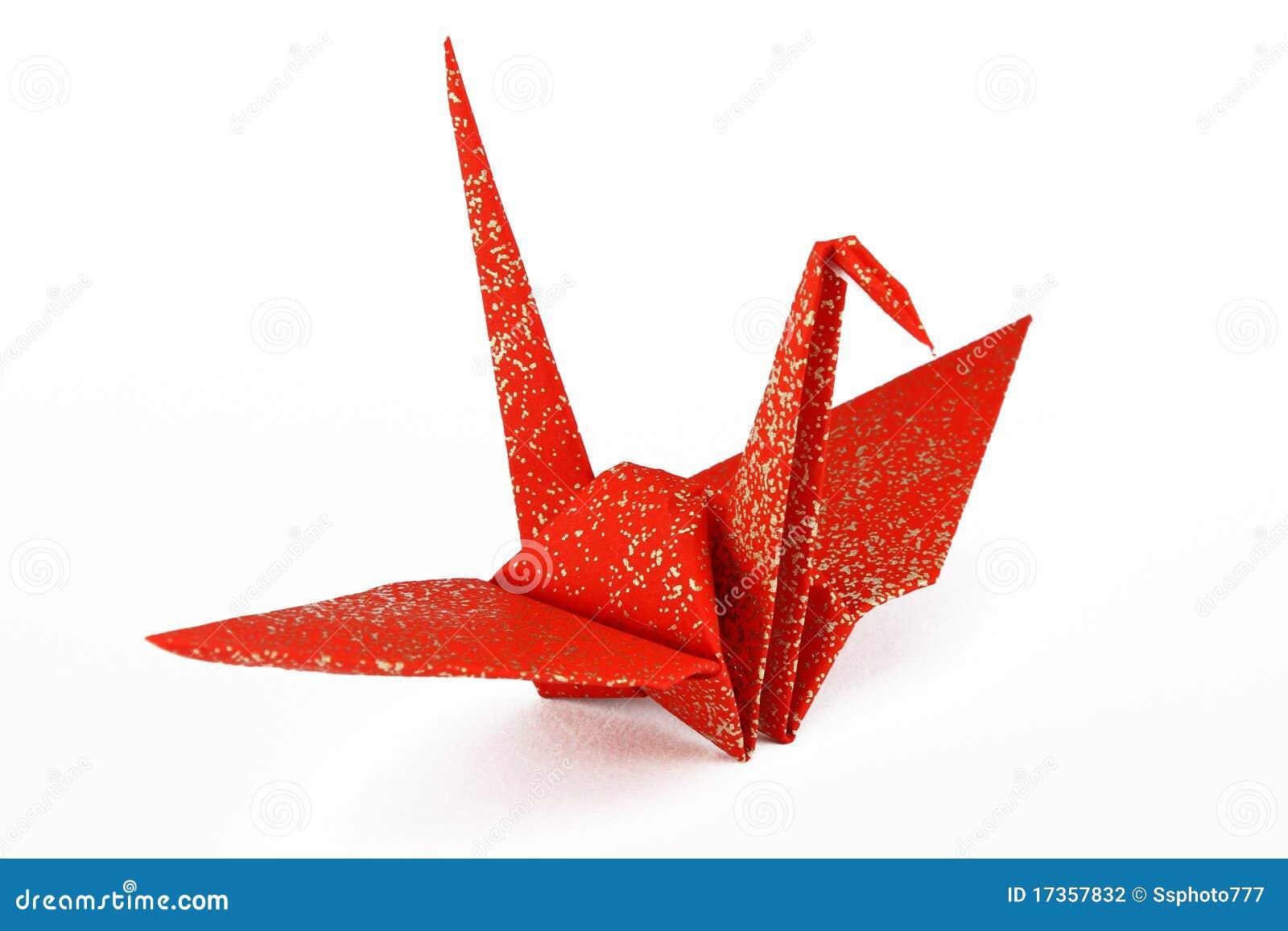 Origami Crane Clip Art Red and gold origami crane