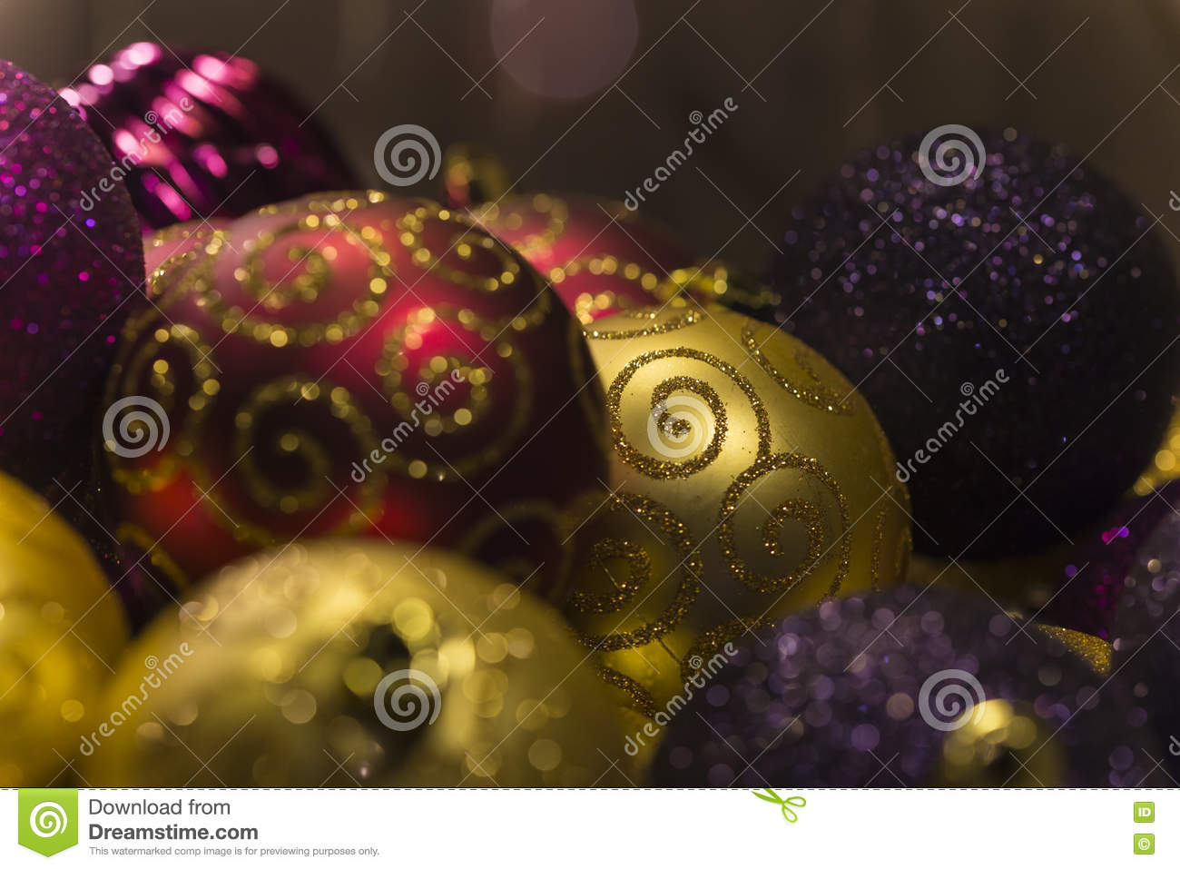 red gold and purple christmas tree balls