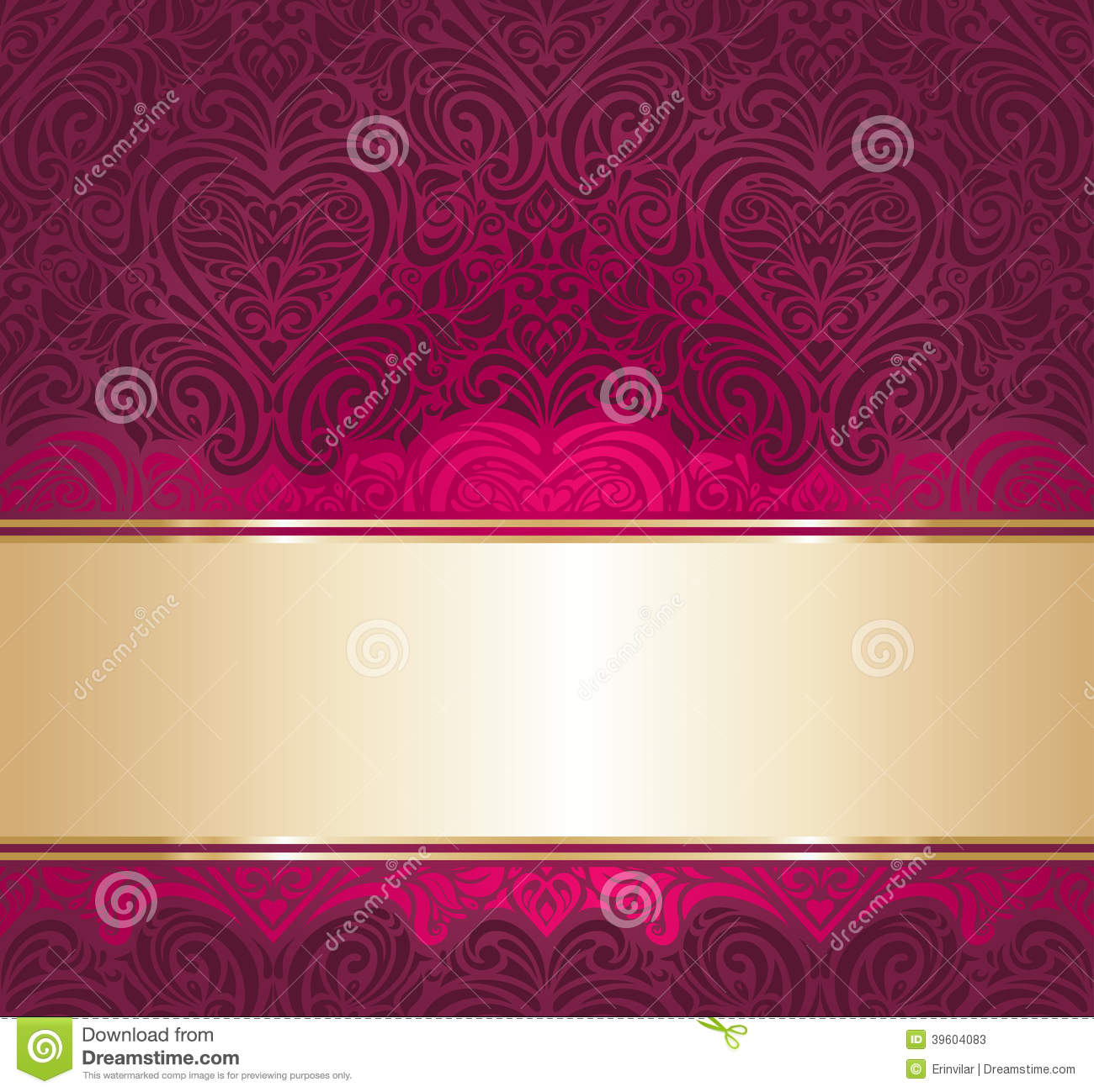 Red And Gold Vintage Invitation Background Stock Vector