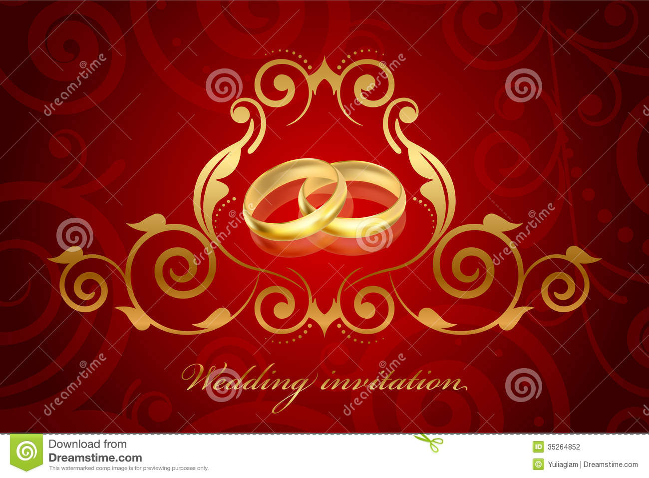 Red And Gold Wedding Invitation Stock Vector - Illustration of frame ...