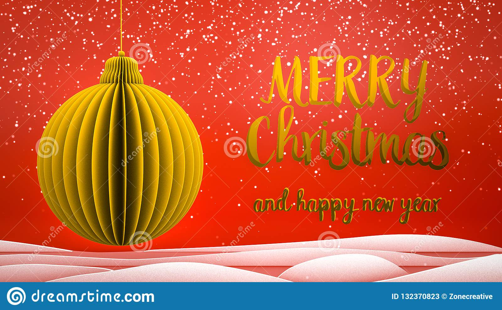 red and gold xmas tree ball decoration merry christmas and happy new year greeting message in