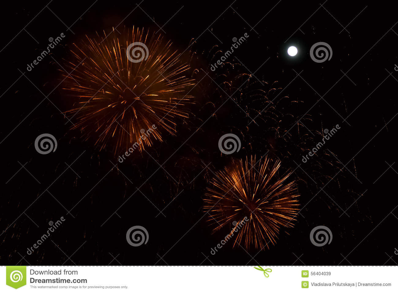 Red and golden fireworks at night background with moon