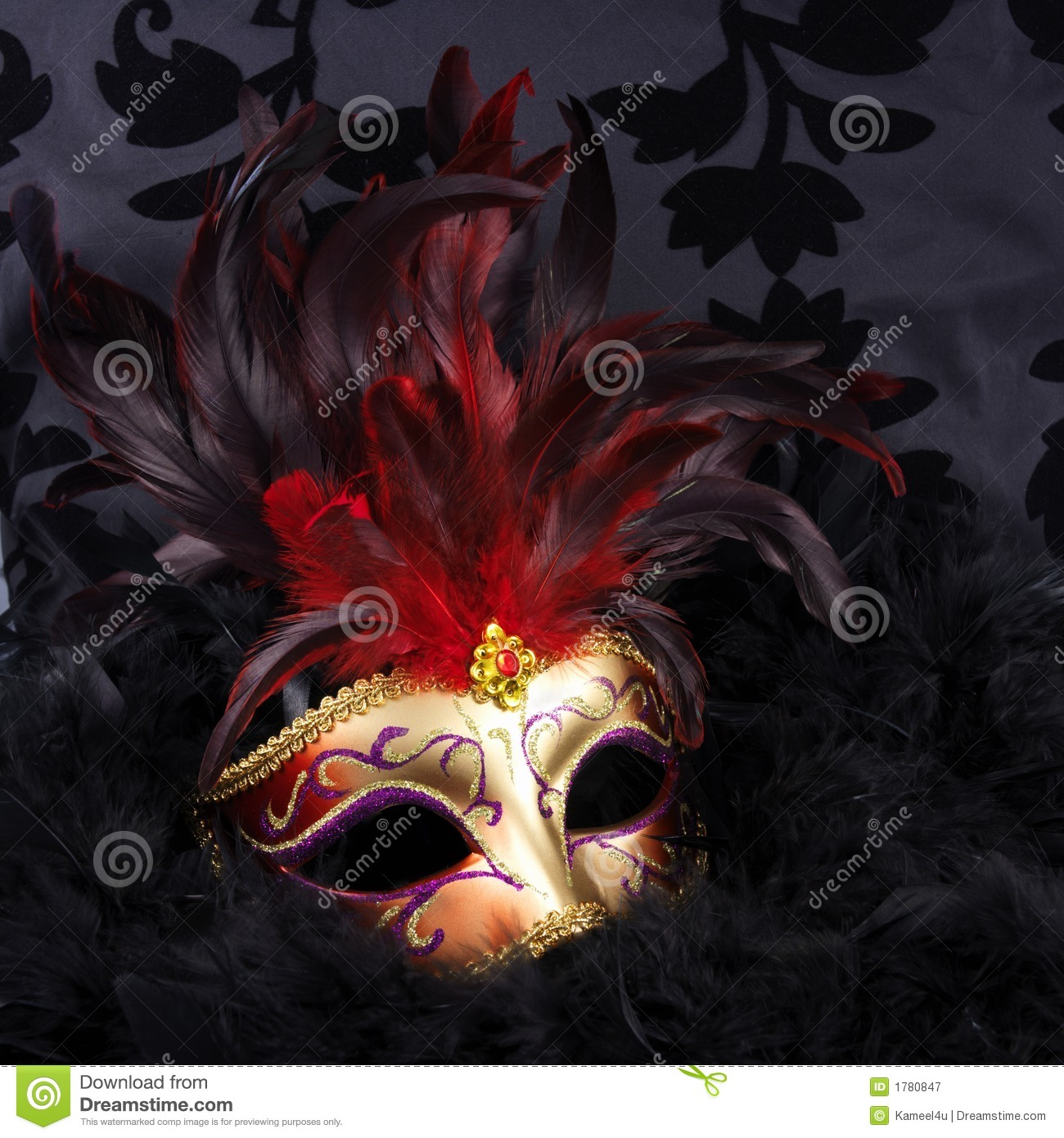 Red and golden mask with black feathers (Venice)