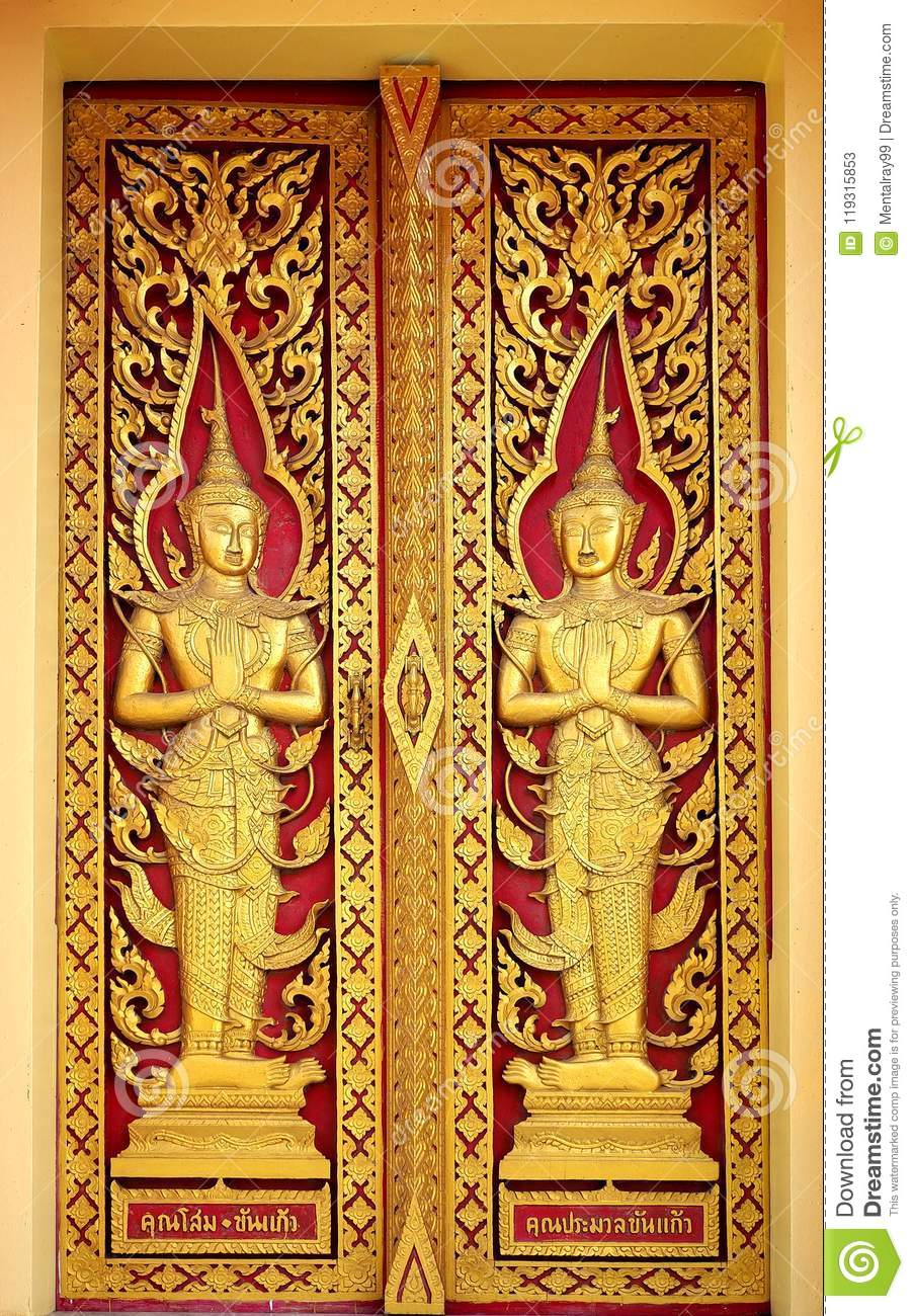 The Red Golden Thai Temple Gate Angel Pattern Stock Image - Image of ...