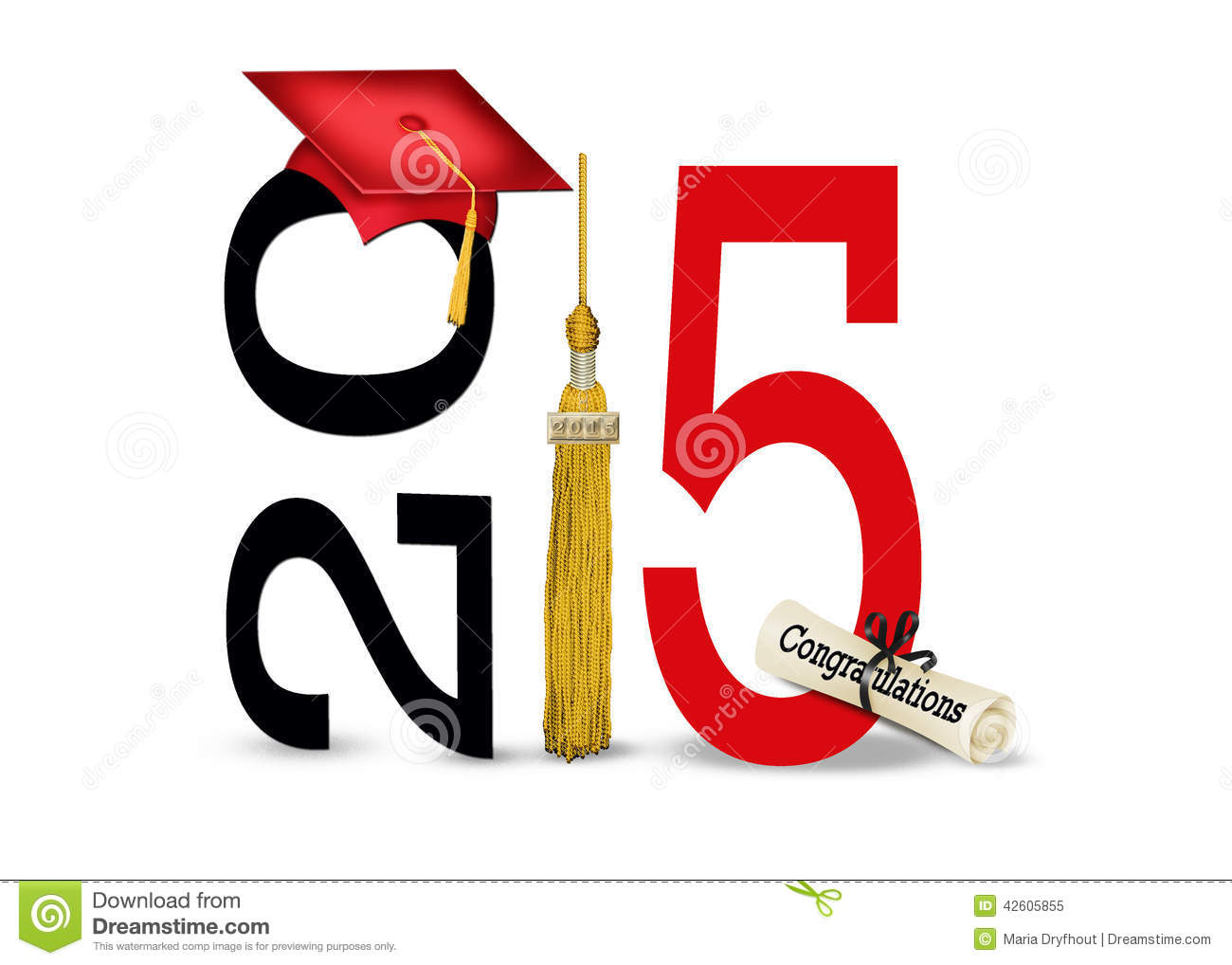 Red graduation cap and gold tassel with diploma for class of 2015 ...