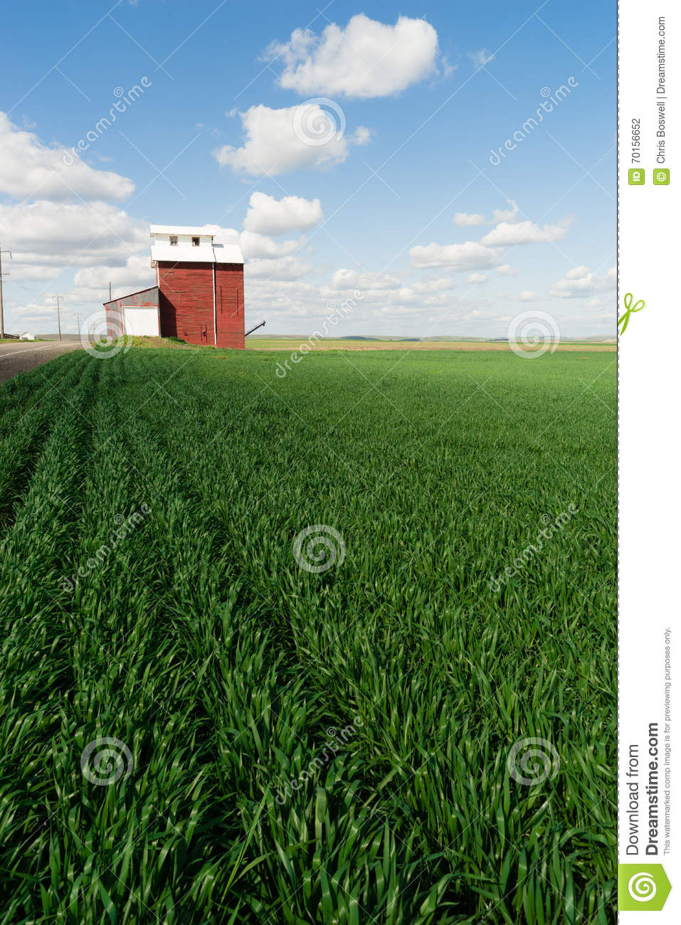Red Grain Elevator Blue Skies Agriculture Green Crops