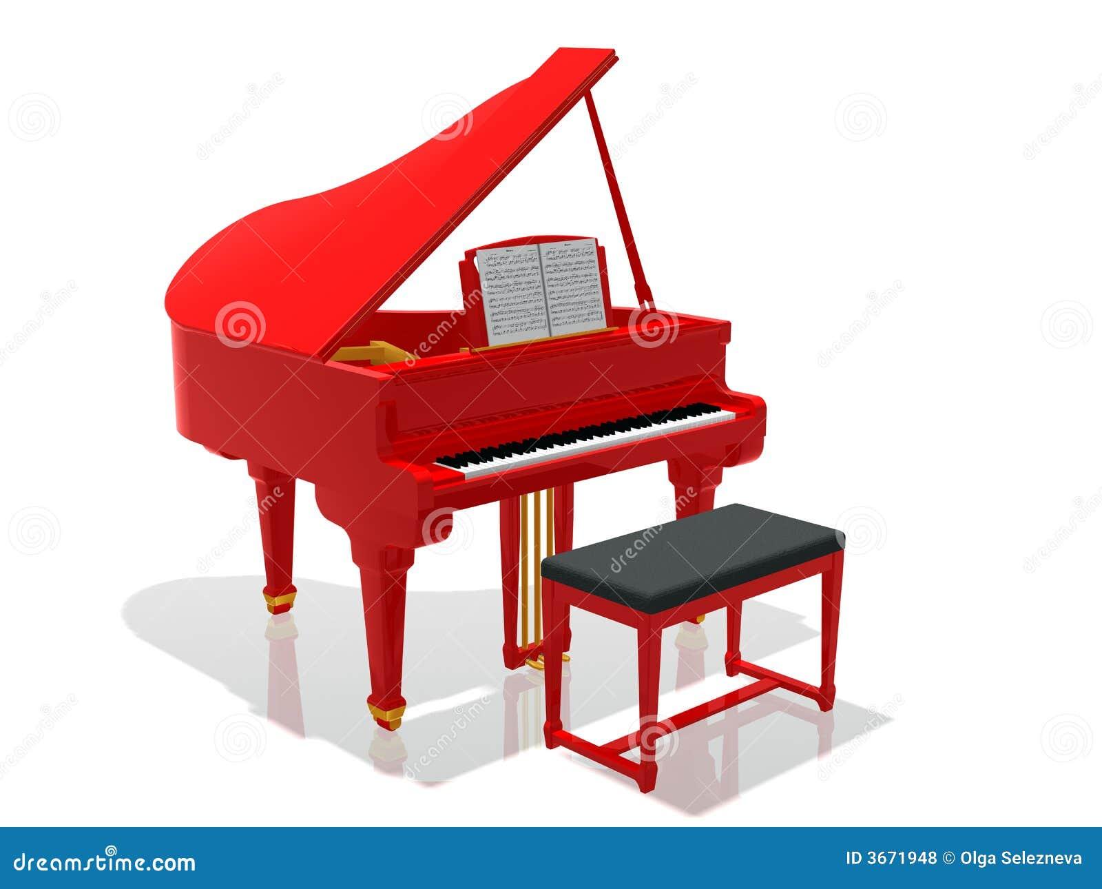 Red grand piano stock illustration. Image of percussive ...