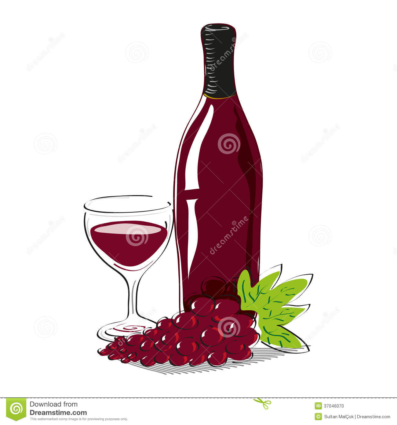 Red grape with bottle of red wine and glass full o stock - Verre de vin dessin ...