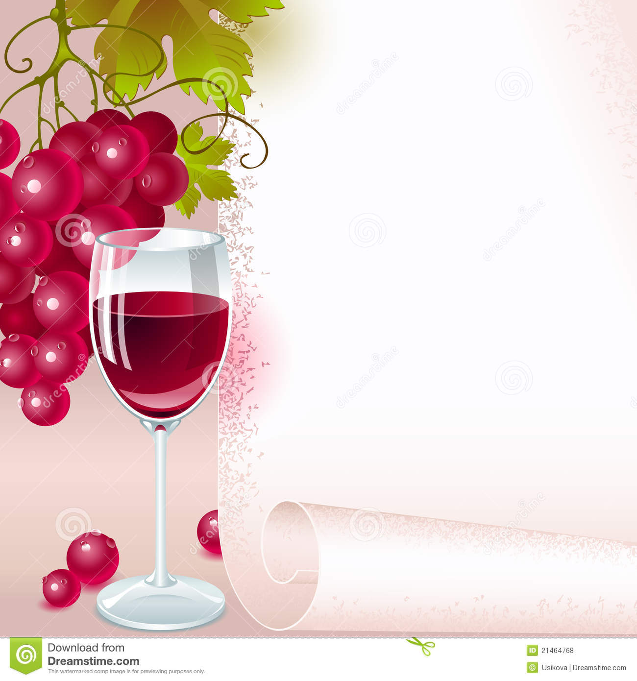 Red Grapes With Wine Menu Stock Vector Image Of Design