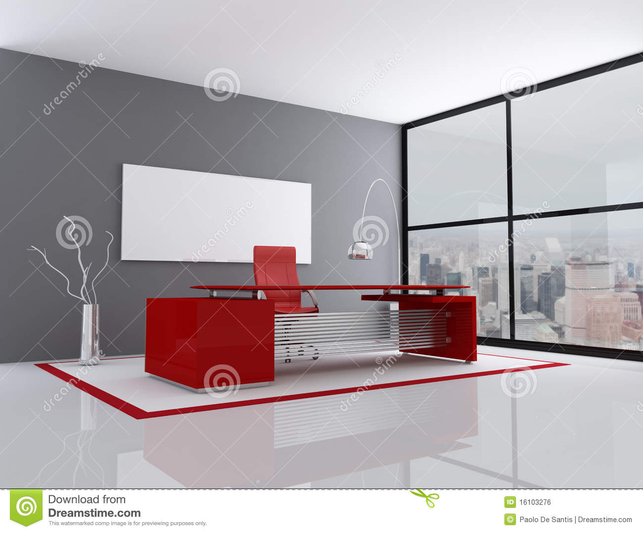 Red And Gray City Office Stock Illustration Illustration