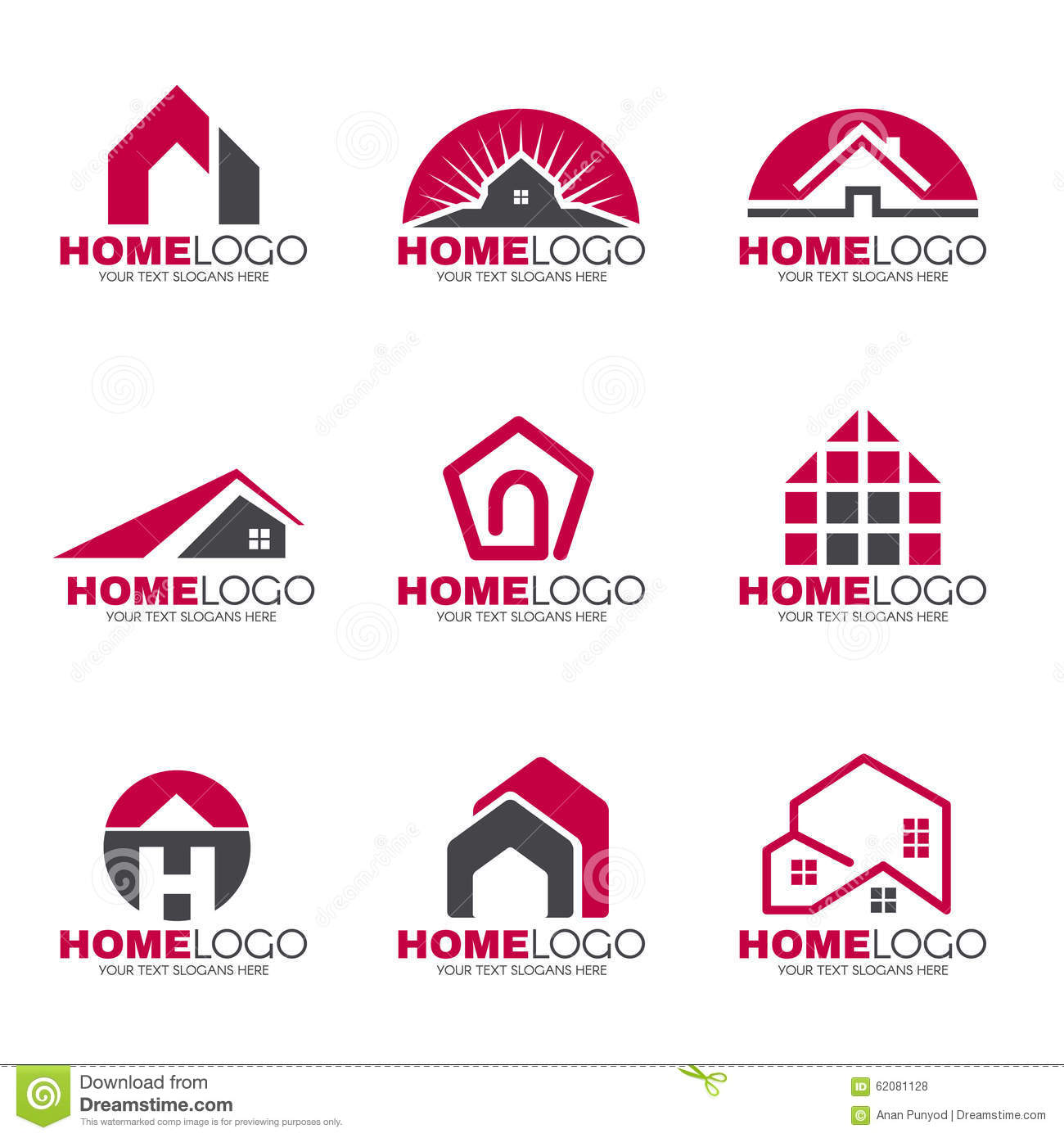 Red And Gray Home Logo Set Design Stock Vector - Illustration of ...