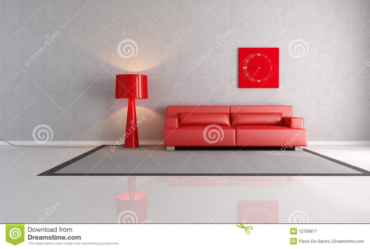 Red And Gray Living Room Royalty Free Stock Photography - Image ...