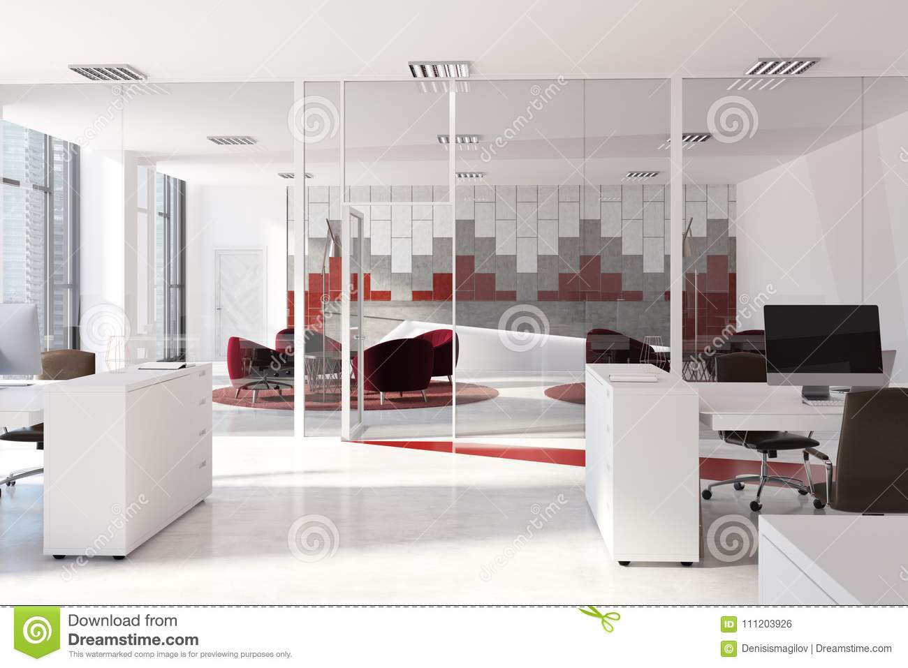 Red And Gray Pattern Office Interior Stock Illustration ...