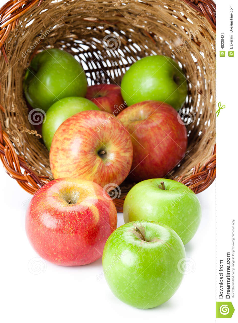green and red apples in basket. royalty-free stock photo. download red and green apples in basket r