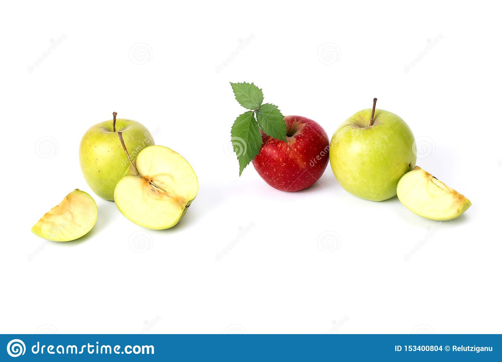 Red and green apples on a white background. Green and red juicy apples on an isolated background. A group of ripe apples on a whit