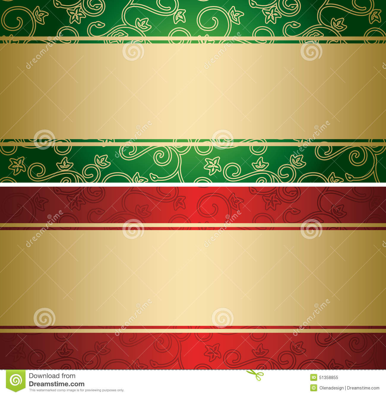 Red and green vector backgrounds with golden decor - cards