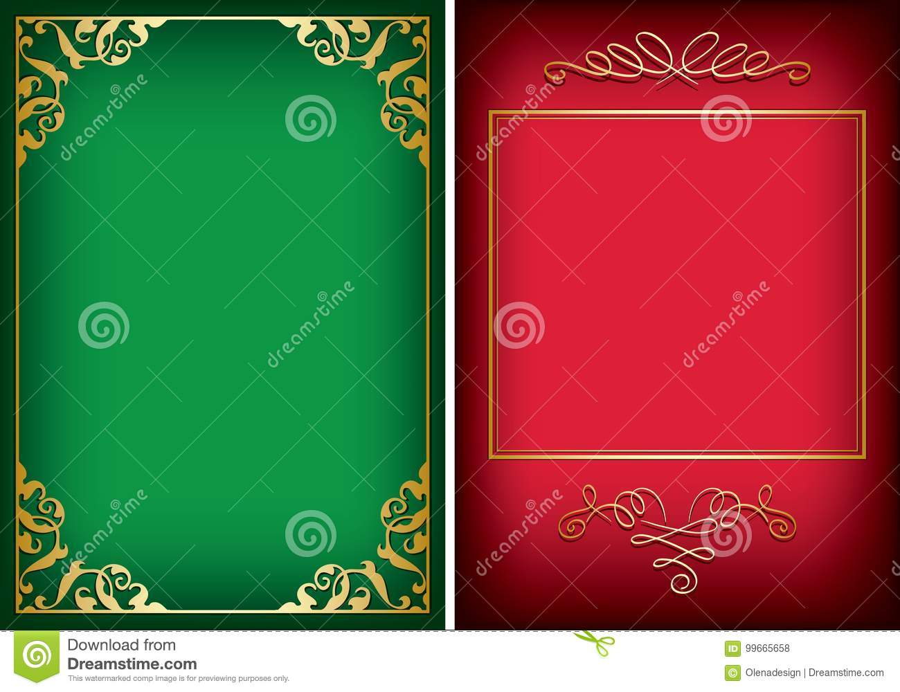 Red and green backgrounds with golden decorative frames - vector