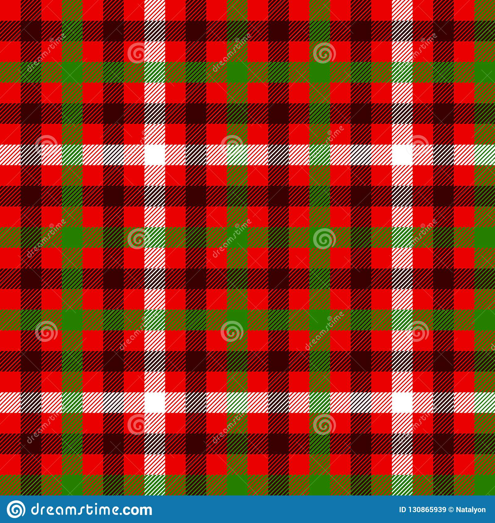 Red green and black tartan traditional fabric seamless pattern, vector