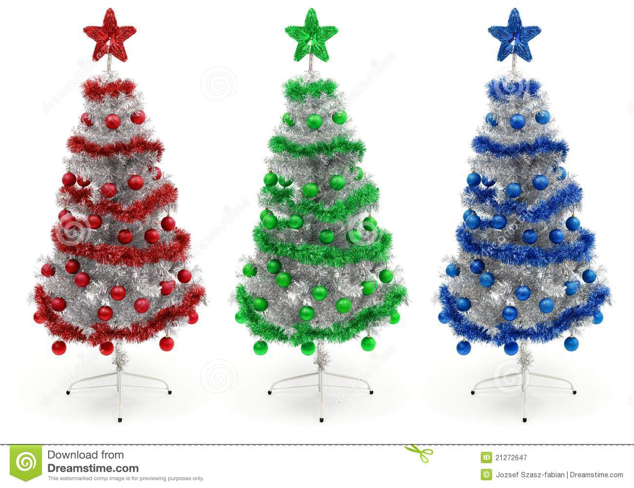 Red, Green And Blue Decorated Christmas Tree Royalty Free