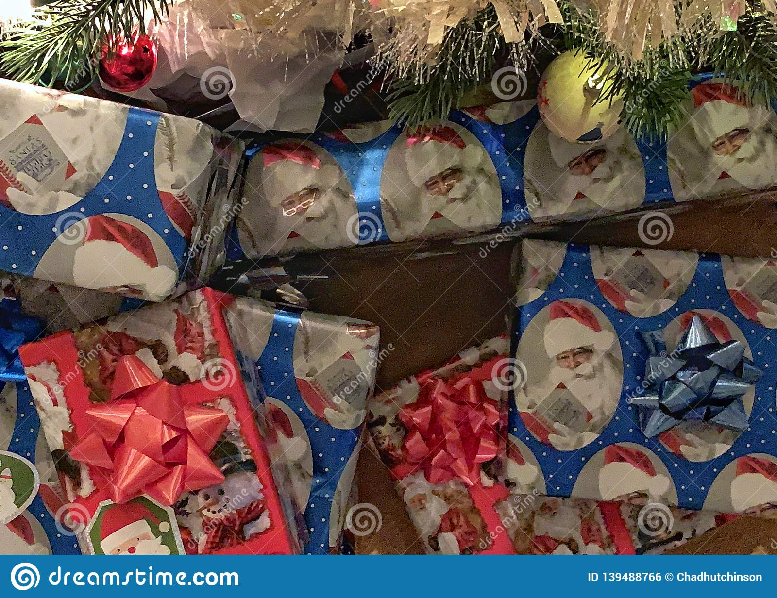 Wrapped Christmas Gifts Under The Tree Stock Photo Image Of Gift Wrap 139488766