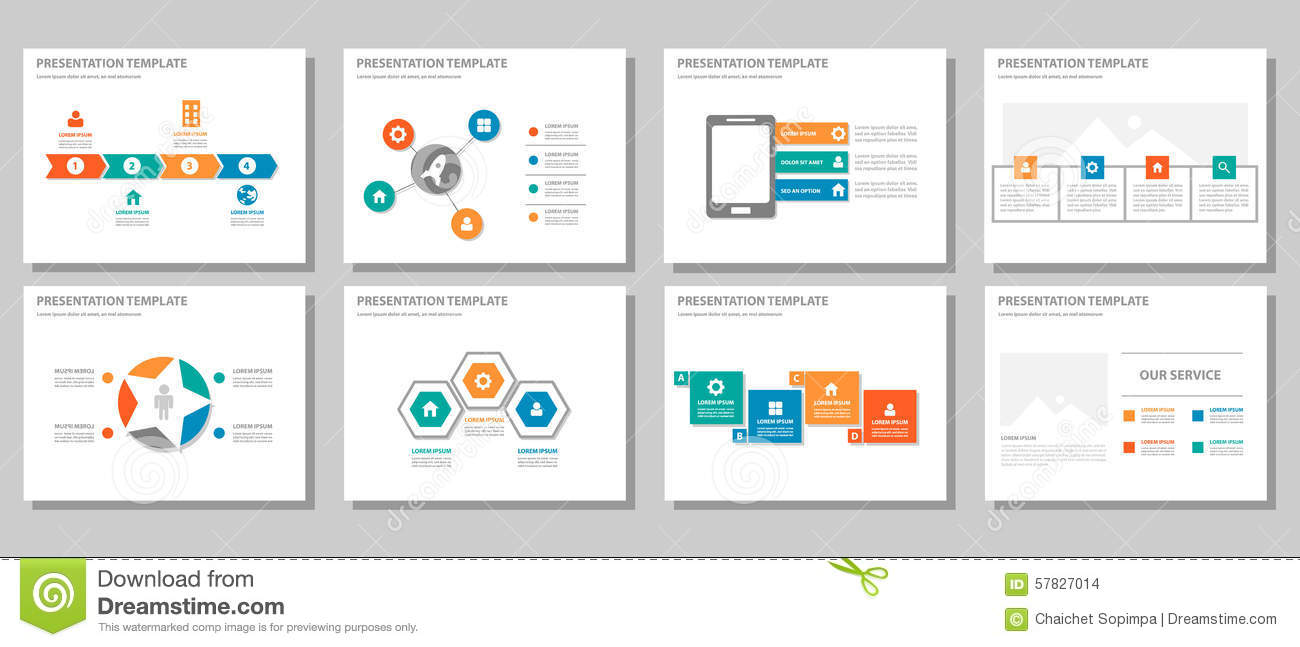 orange infographic business presentation template set.powerpoint, Powerpoint templates