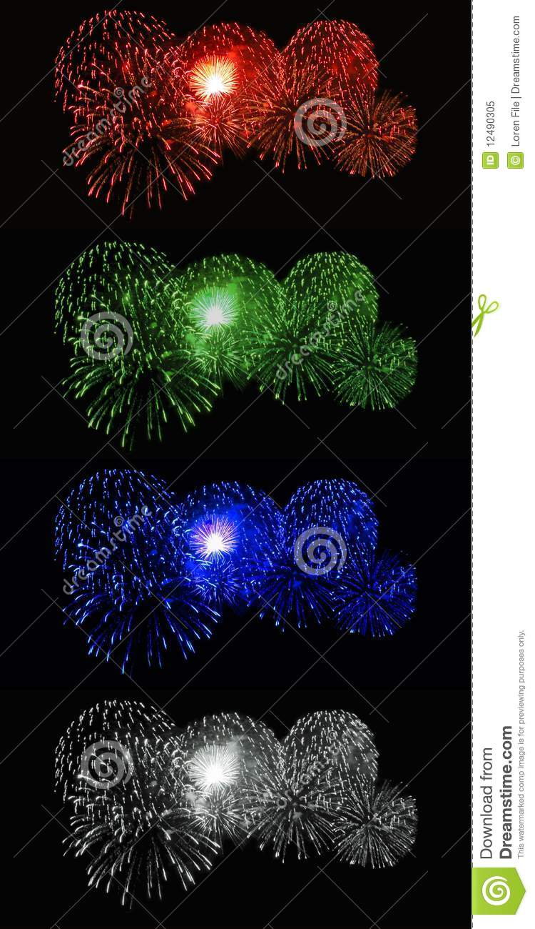 Red, Green, Blue, White Fireworks Royalty Free Stock Photo ...