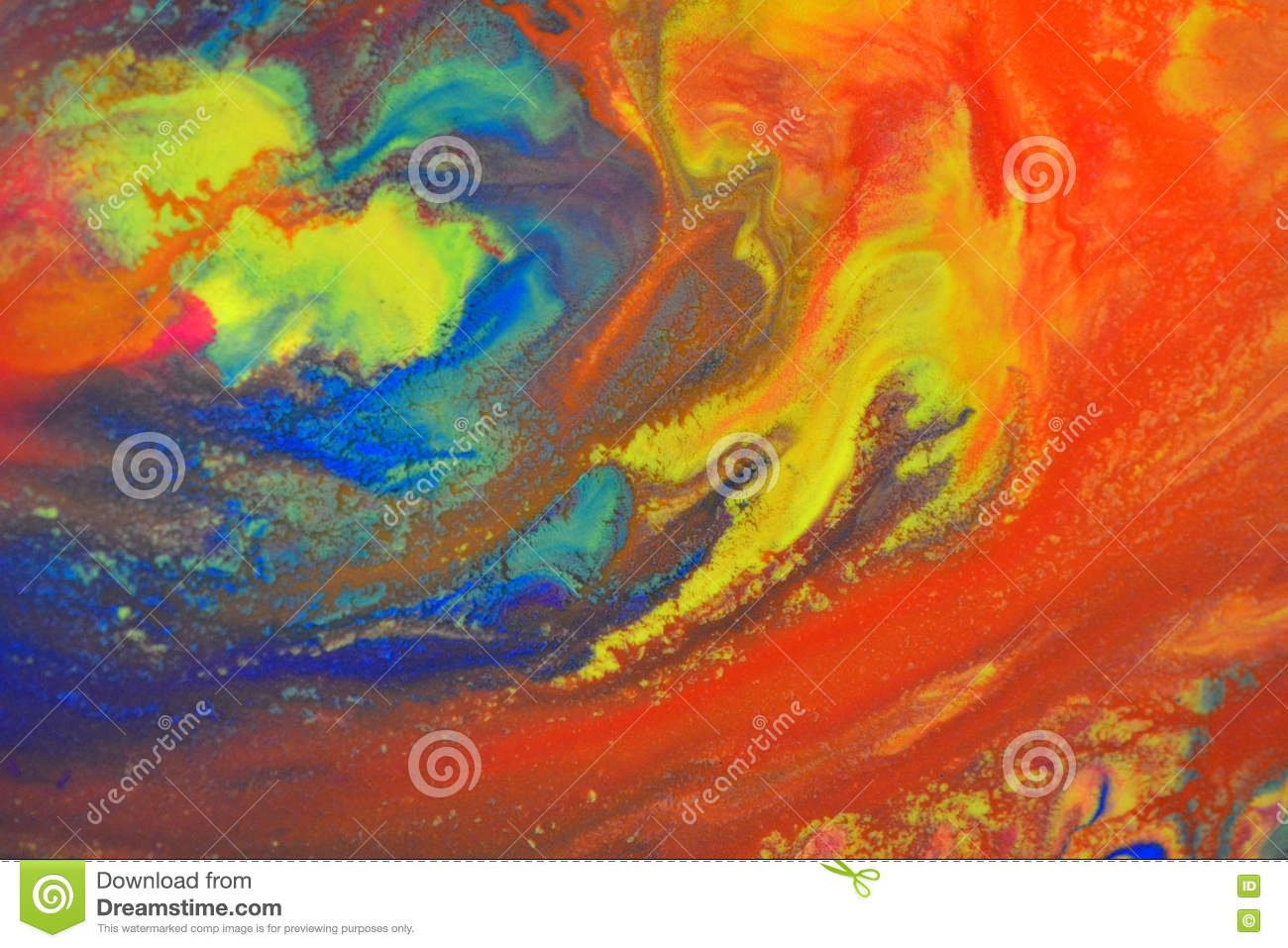Red Green Blue Yellow Colors Mixed Fluid Macro Stock