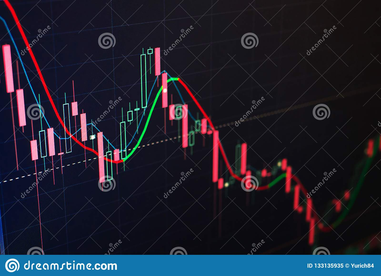 Red and green candles of stock exchange. Trading concept. Technical analysis