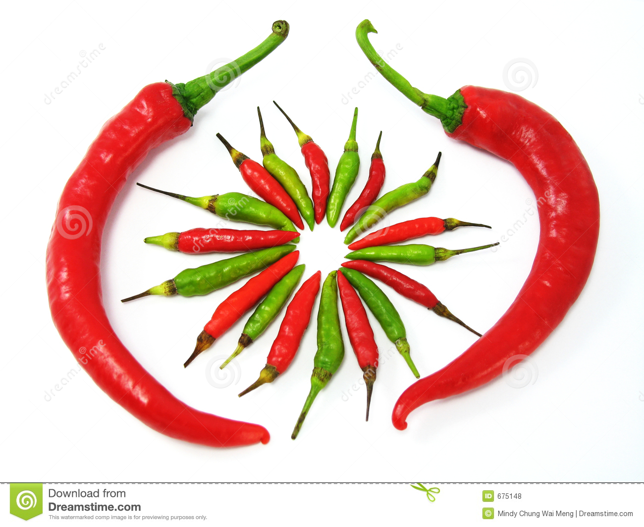 Red And Green Chillies Royalty Free Stock Photos - Image: 675148