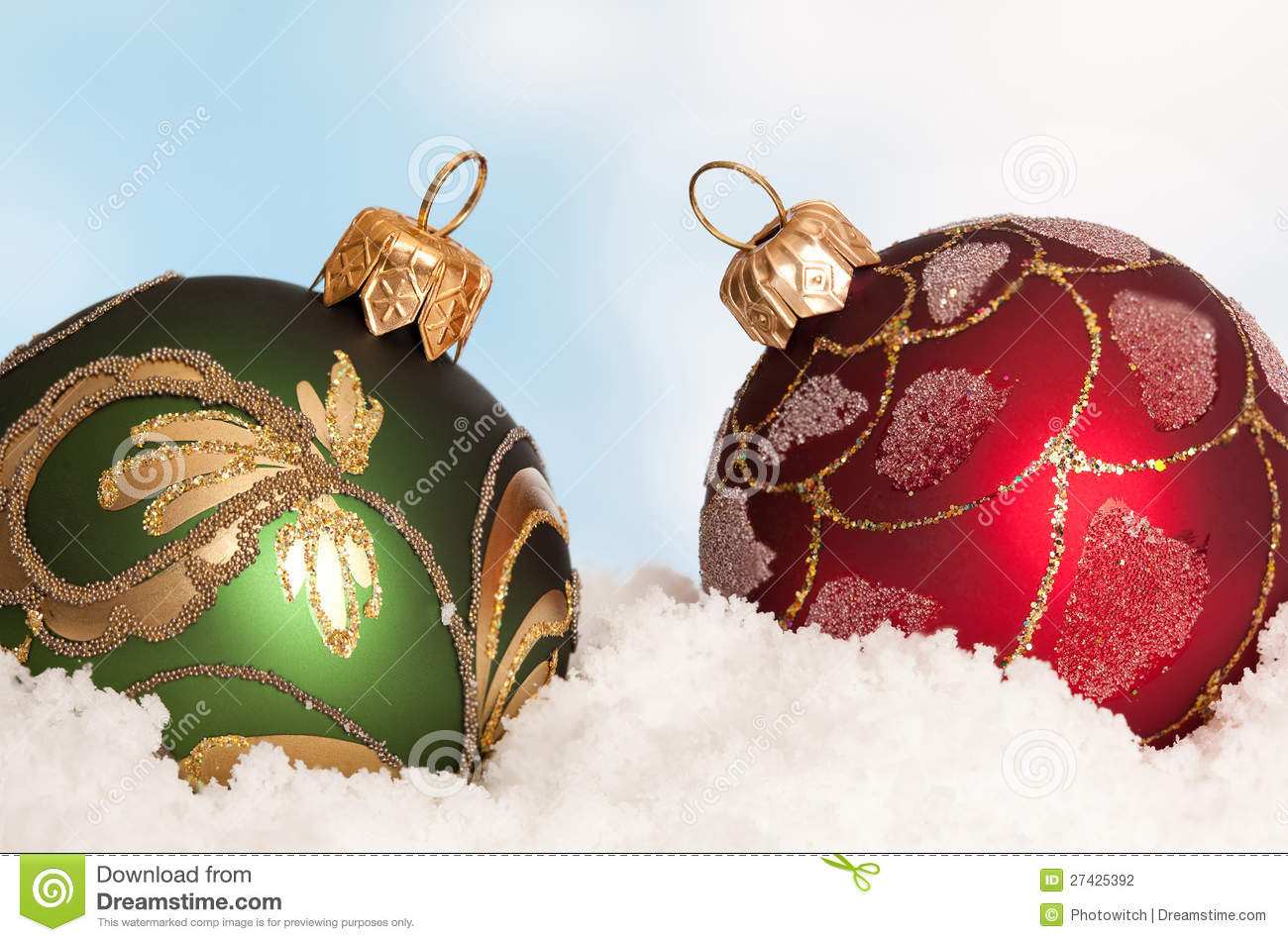 red and green christmas decorations