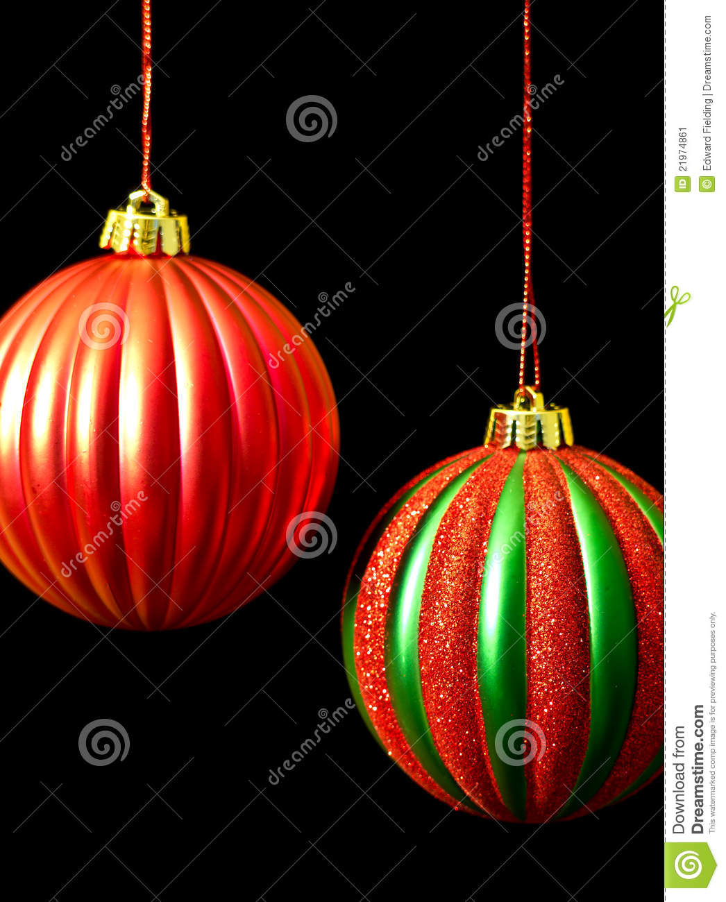 Red and green christmas ornaments on black stock image for Red and green christmas decorations
