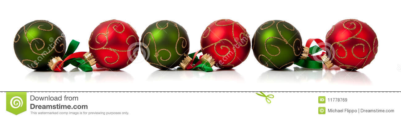 Red and green christmas ornaments with ribbon stock image for Red and green christmas decorations