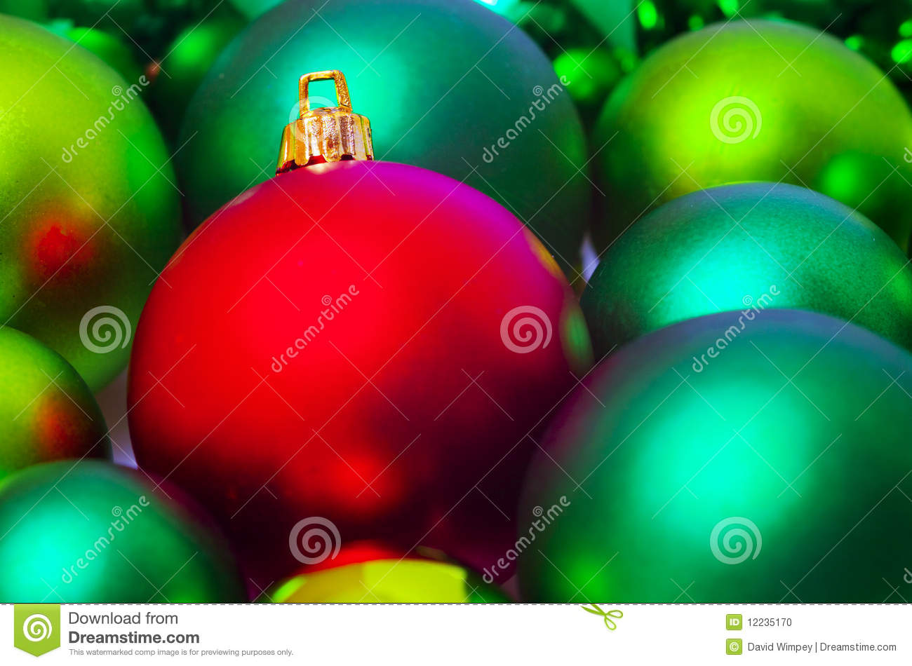 Red And Green Christmas Tree Baubles Stock Photo Image
