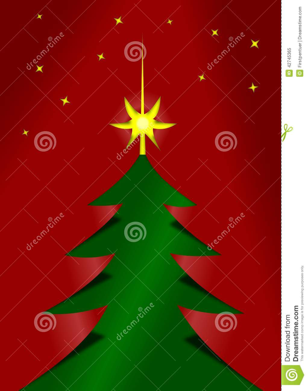 Red and green christmas tree cutted from paper stock for Red and green christmas tree