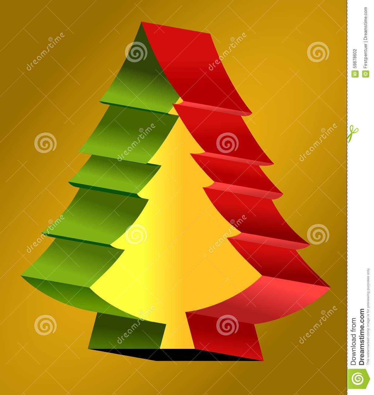 Red and green christmas tree at yellow background stock for Red and yellow christmas tree