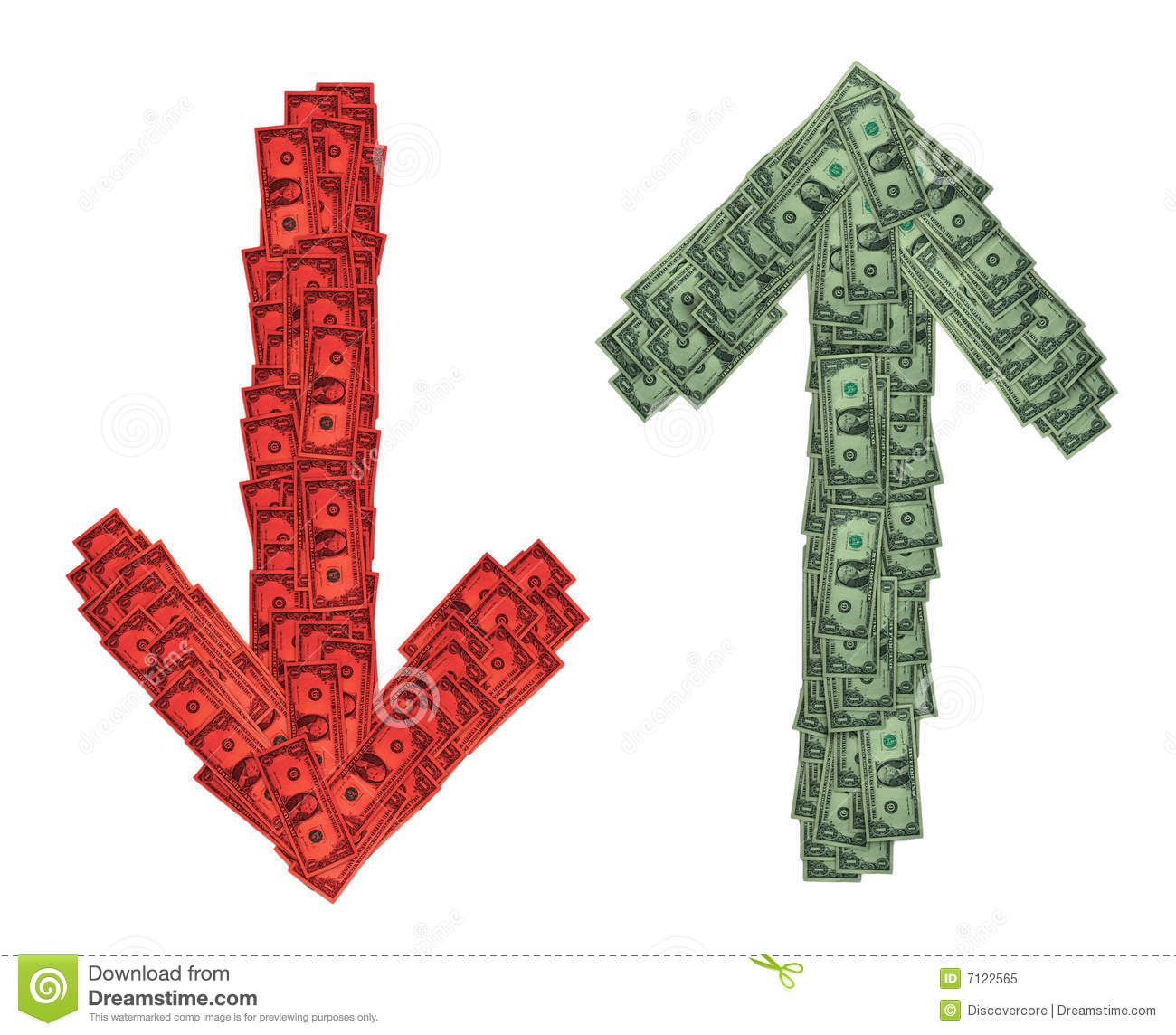 Red Green Down Up Money Royalty Free Stock Photo - Image ...