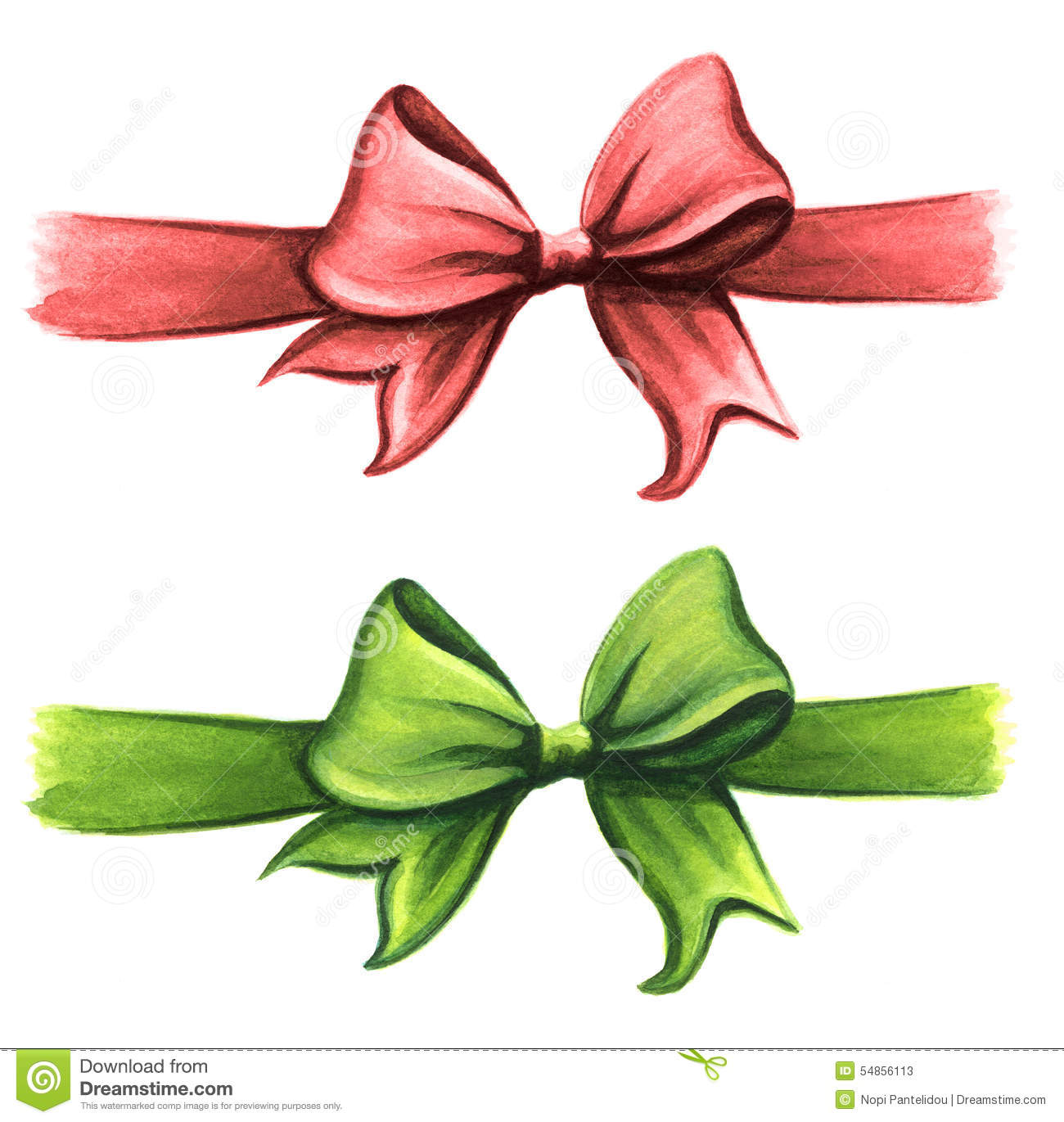 red and green gift ribbon bow clip art set stock illustration