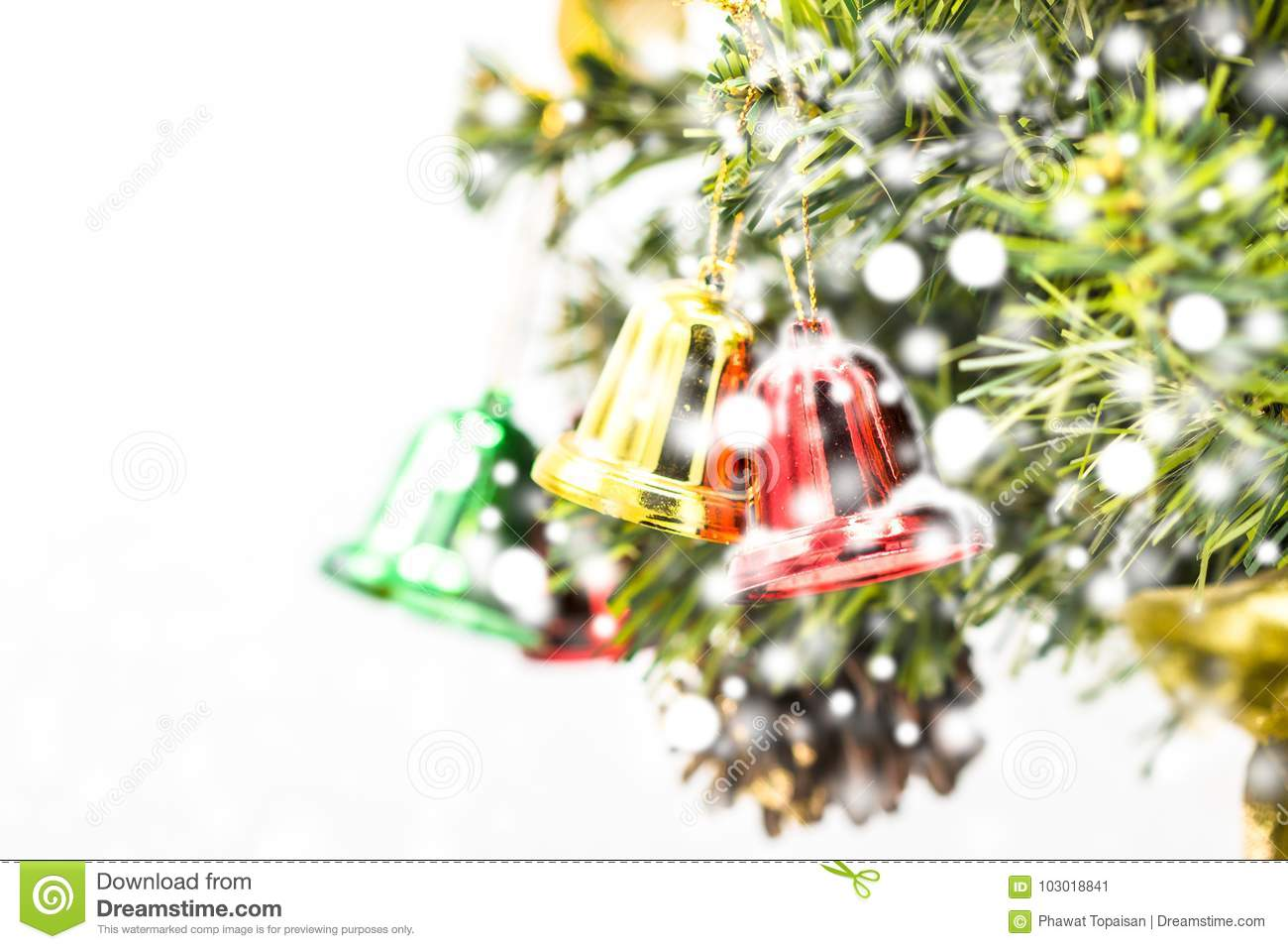 download red and green and gold christmas bell decoration hanging stock image image of leaf