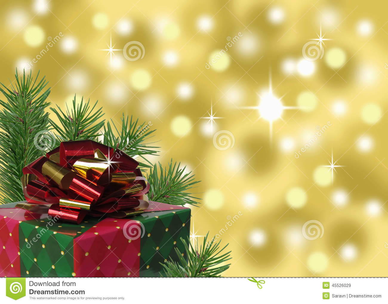 red green and gold christmas present with abstract background