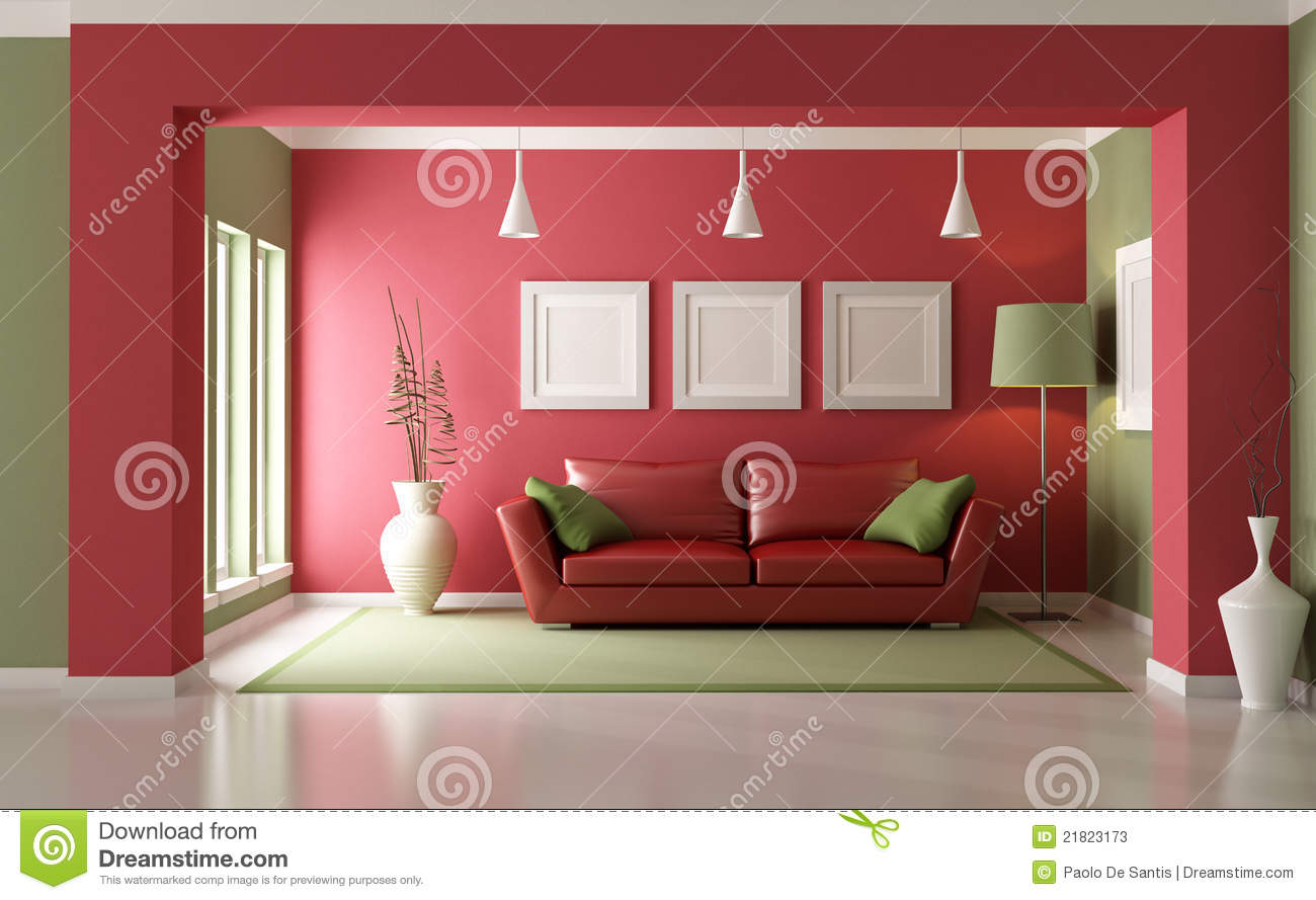 Royalty Free Stock Photo. Download Red And Green Living Room ... Part 43