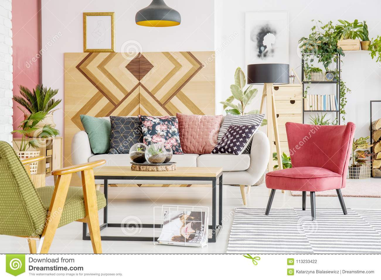 red and green living room stock photo image of poster 113233422