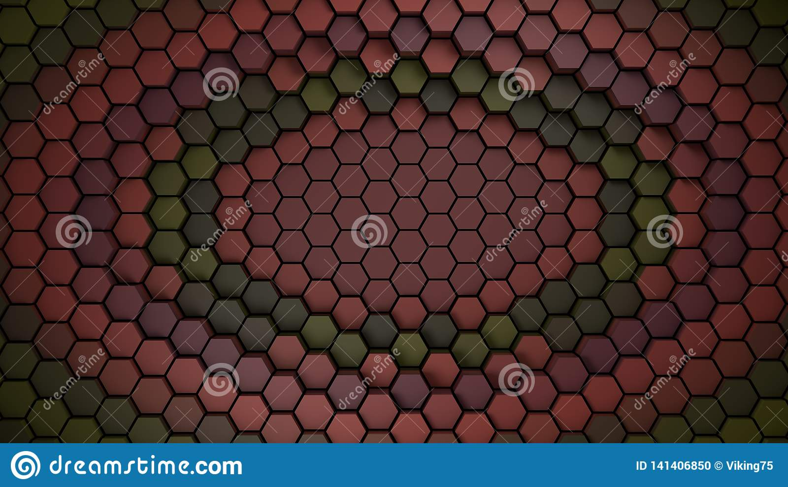Red and green material hexagons background template. 3d Render
