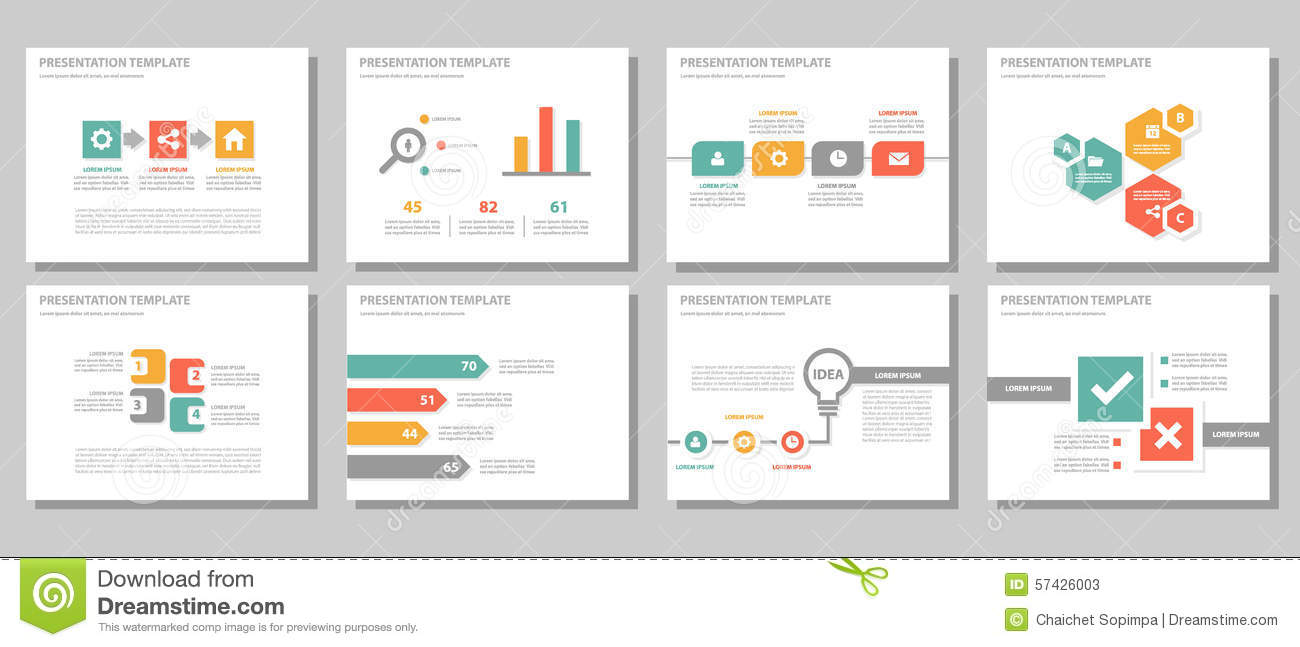 red green orange multipurpose presentation template flat design, Powerpoint templates
