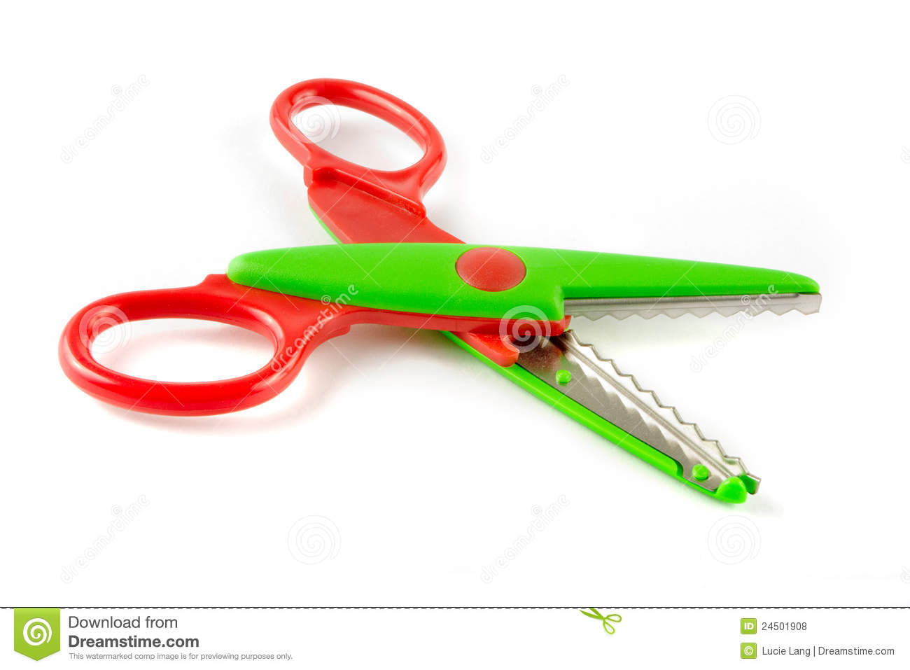 Red and green plastic scissors